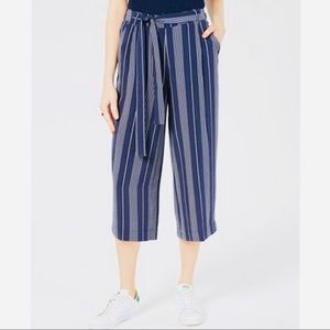 Maison Jules Striped Belted Culottes Capri in Navy